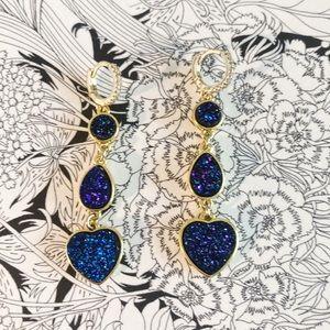 Gorgeous Druzy Drop Earring Huggie Style